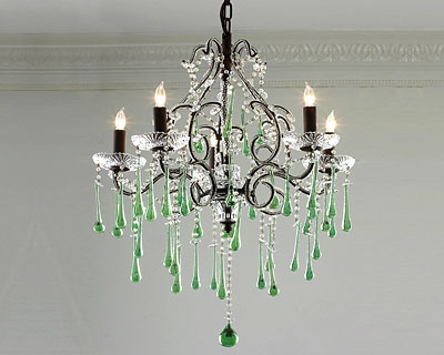 Green chandelier shades of light emerald interiors blog green chandelier shades of light mozeypictures Gallery