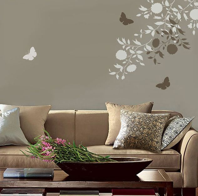 Home Decor Wall Paint Stencils : Wall stencil floral emerald interiors