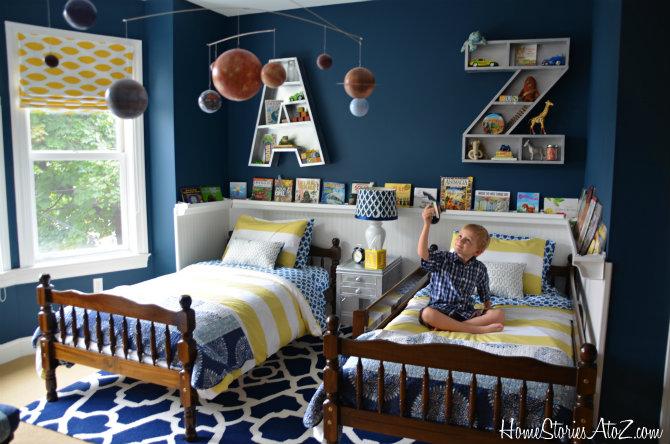 Shared Boys Geometrical Bedroom: 18 Shared Bedroom Idea's For Kids