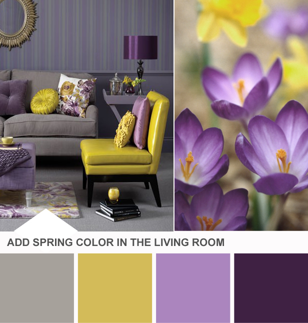 Purple Yellow Living Room Palette Hgtv Tuesday Huesday