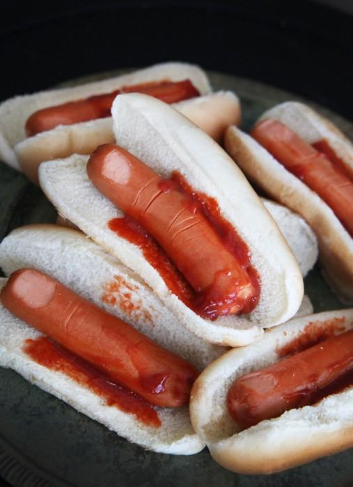 halloween fingers in a bun